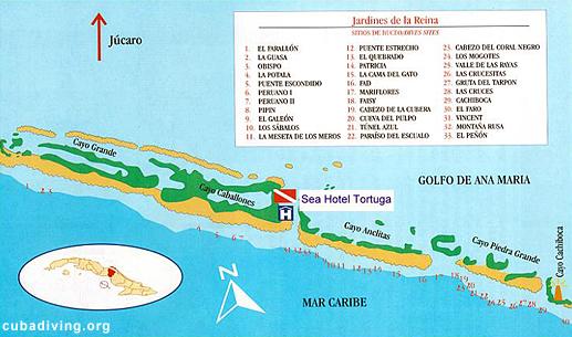 Jardines de la reina cuba map for Piscina hotel jardin de la reina